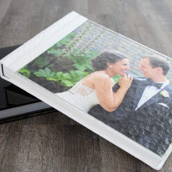 Finao wedding album with magical mystery glass cover